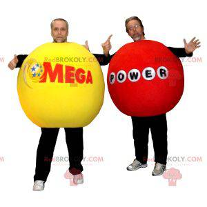 2 maskotki gigantycznych czerwonych i żółtych kulek -