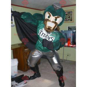 Mascota de caballero superhéroe verde y gris - Redbrokoly.com