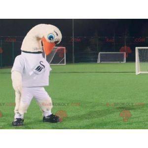 Storkehvid svanemaskot med en hvid t-shirt - Redbrokoly.com