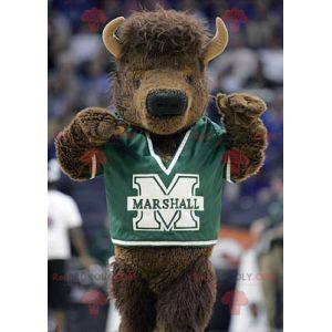 Brun buffalo buffalo maskot i sportsklær - Redbrokoly.com
