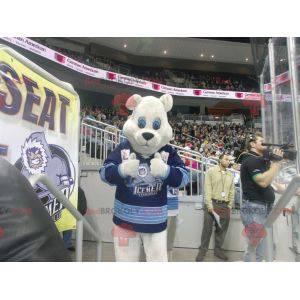 Eisbärenmaskottchen mit blauem Trikot - Redbrokoly.com
