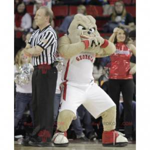 Beige bulldog mascot in sportswear - Redbrokoly.com