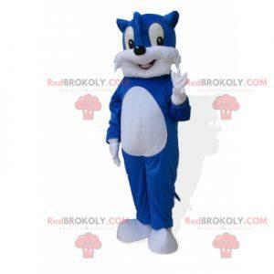 Obří a roztomilý maskot modrá a bílá kočka - Redbrokoly.com