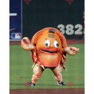 Mascotte di granchio crostaceo arancione gigante -