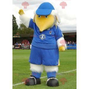 Maskot velký bílý a žlutý pták v modrém oblečení -