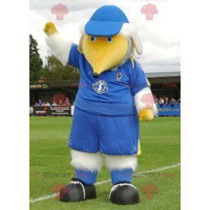 Maskottchen großer weißer und gelber Vogel im blauen Outfit -