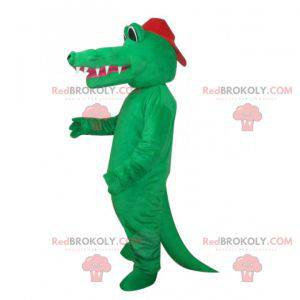 Plně nahý zelený krokodýlí maskot s čepicí - Redbrokoly.com