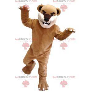 Hnědý béžový a bílý kočičí tygr maskot - Redbrokoly.com