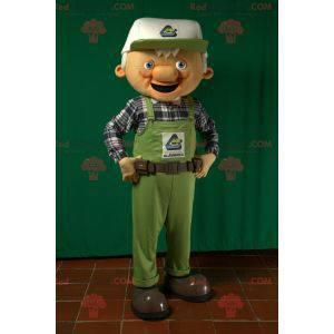 Mascot old man worker in overalls - Redbrokoly.com