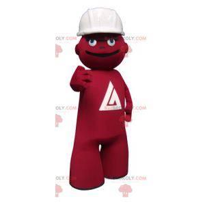 Arbeiter rotes Schneemannmaskottchen mit einem Helm -
