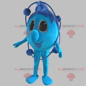 Blaues Schneemannmaskottchen vom Raum. Blaues Maskottchen -