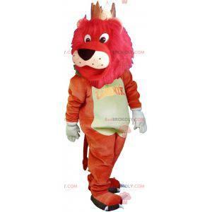 Großes buntes Löwenmaskottchen mit einer Krone - Redbrokoly.com