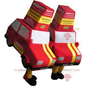 2 Maskottchen von roten und gelben Autos - Redbrokoly.com