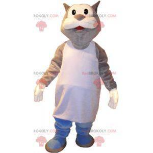 Maskot velká šedá a bílá kočka v marcel - Redbrokoly.com