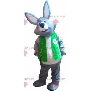 Gigantisk grå og hvit kaninmaskot iført vest - Redbrokoly.com