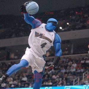 Blauer Mann des Maskottchens im Basketball-Outfit -