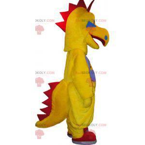 Žlutý a červený dinosaurus vtipné stvoření maskot -
