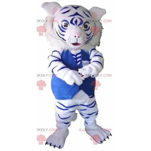 Maskot bílý a modrý tygr - Redbrokoly.com