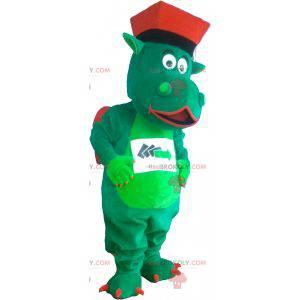 Grünes und rotes Drachenmaskottchen mit Hut - Redbrokoly.com