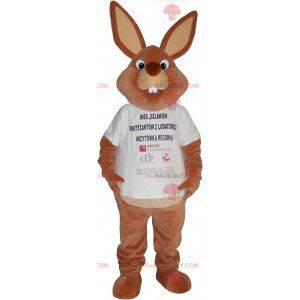 Big brown rabbit mascot in a t-shirt - Redbrokoly.com