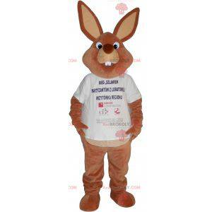 Stor brun kaninmaskot i t-skjorte - Redbrokoly.com