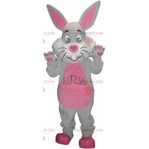 Gray and pink rabbit mascot with big ears - Redbrokoly.com