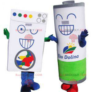 2 mascots 1 laundry-type cardboard brick and 1 giant stack -