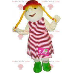Mascot little blonde girl. Child mascot - Redbrokoly.com