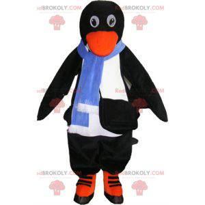 Realistisk svart-hvit pingvin maskot med tilbehør -
