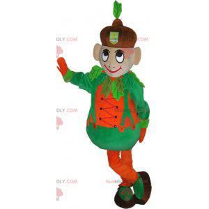 Jungenmaskottchen mit einem lustigen und bunten Outfit -