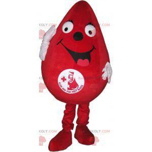 Gigantisk rød dråpe maskot. Maskot for bloddonasjon -