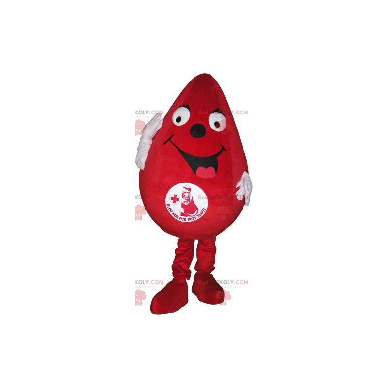 Giant red drop mascot. Mascot for blood donation -