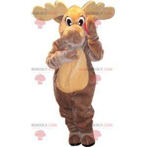 Gray and beige caribou elk deer mascot. Giant reindeer -