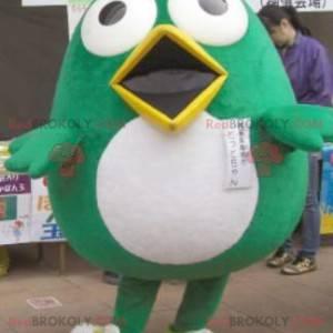 Maskot velký legrační zelený a bílý pták - Redbrokoly.com