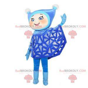 Jentemaskotte kledd i blått med hette - Redbrokoly.com