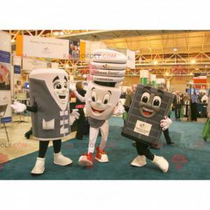 3 mascots of light bulb and household appliances -