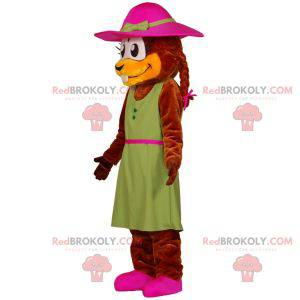 Beaver mascot dressed in a dress with a hat - Redbrokoly.com