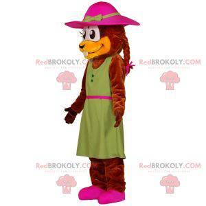 Maskotka bóbr ubrany w sukienkę z kapeluszem - Redbrokoly.com