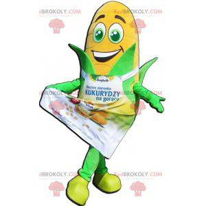 Giant corn ear mascot with green eyes and an apron -