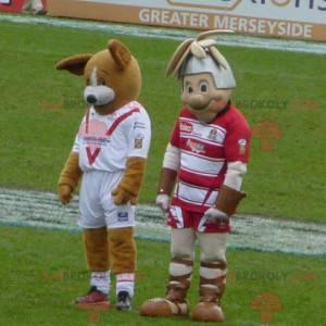 2 mascots a brown dog and a knight - Redbrokoly.com