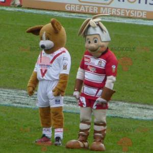 2 maskoti hnědý pes a rytíř - Redbrokoly.com
