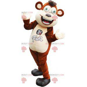 Large brown and white monkey mascot with green eyes -