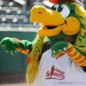 Green and yellow crocodile mascot with braids - Redbrokoly.com