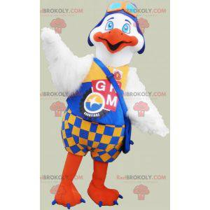 Mascot large white and orange bird with a colorful outfit -