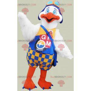 Maskot velký bílý a oranžový pták s barevným oblečením -