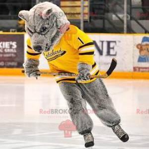 Gray bear mascot with a yellow jersey - Redbrokoly.com