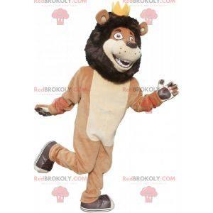 Schwarzes beige und weißes Löwenmaskottchen mit einer Krone -