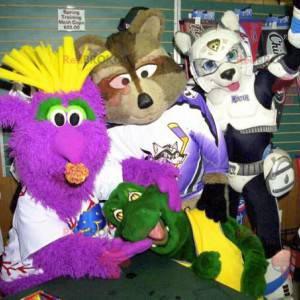 4 maskotki potwór, szop, żółw i pies - Redbrokoly.com