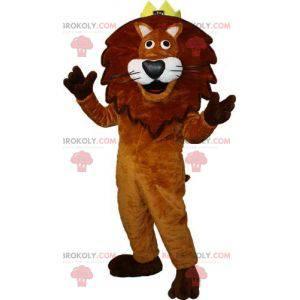 Hnědý a bílý lev maskot s korunou na hlavě - Redbrokoly.com