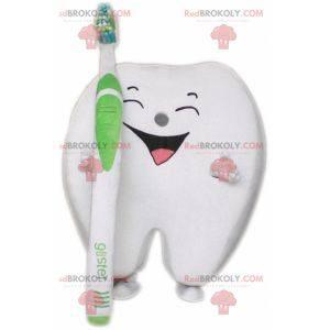 Obří bílý zub maskot s kartáček na zuby - Redbrokoly.com